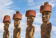 Photo of Moai with Tophats on Easter Island