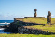 Photo of the Only Moai with Eyes at the Harbor on Easter Island