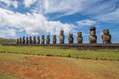 Photo of the 15 Moai on Easter Island.