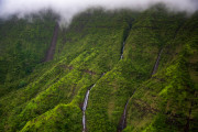 Photo of Waterfalls and Fog in Kauai, Hawaii