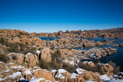 Photo of Watson Lake with Winter Snow at Prescott, AZ