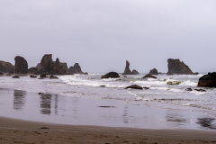 Photo of the Rocks at Bandon Beach in the Fog