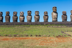Photo of the 15 Moai on Easter Island