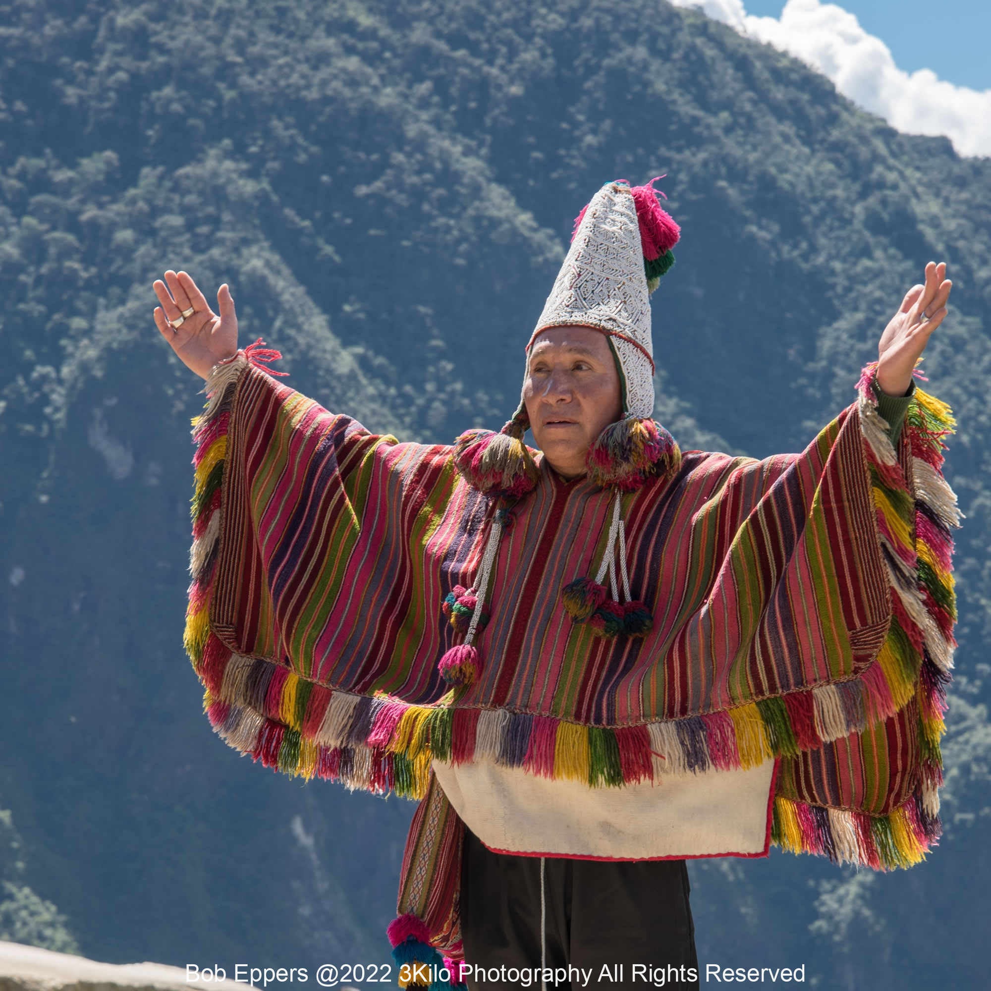 Photo of an Inca Shamen giving a Blessing at Machu Picchu in Peru