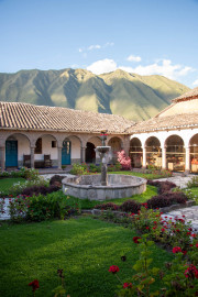 Photo of the Courtyard at the San Agustin Monastery , Ollantaytambo, Peru.  In the Inca Sacred Valley.