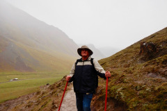Photo of me walking down Rainbow Mountain.  It was a 7.5 mile walk down and I had broken my left heel in a fall several days earlier.  I did not find out it was actually broken until I was back home 3 weeks later.