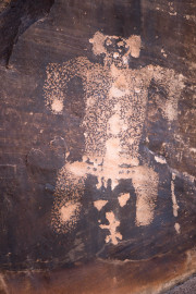 Photo of the Birthing Petroglyph in Chevelon Creek. AZ