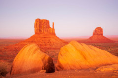 Photo of the Mittens at Sunset in Monument Valley.