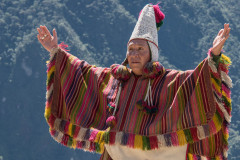 Photo of the Head Shaman of the Incas giving a blessing at Machu Picchu.