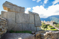 Photo of a stone wall at Machu Picchu.