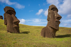 Photo of the Moai buried at the Quarry on Easter Island