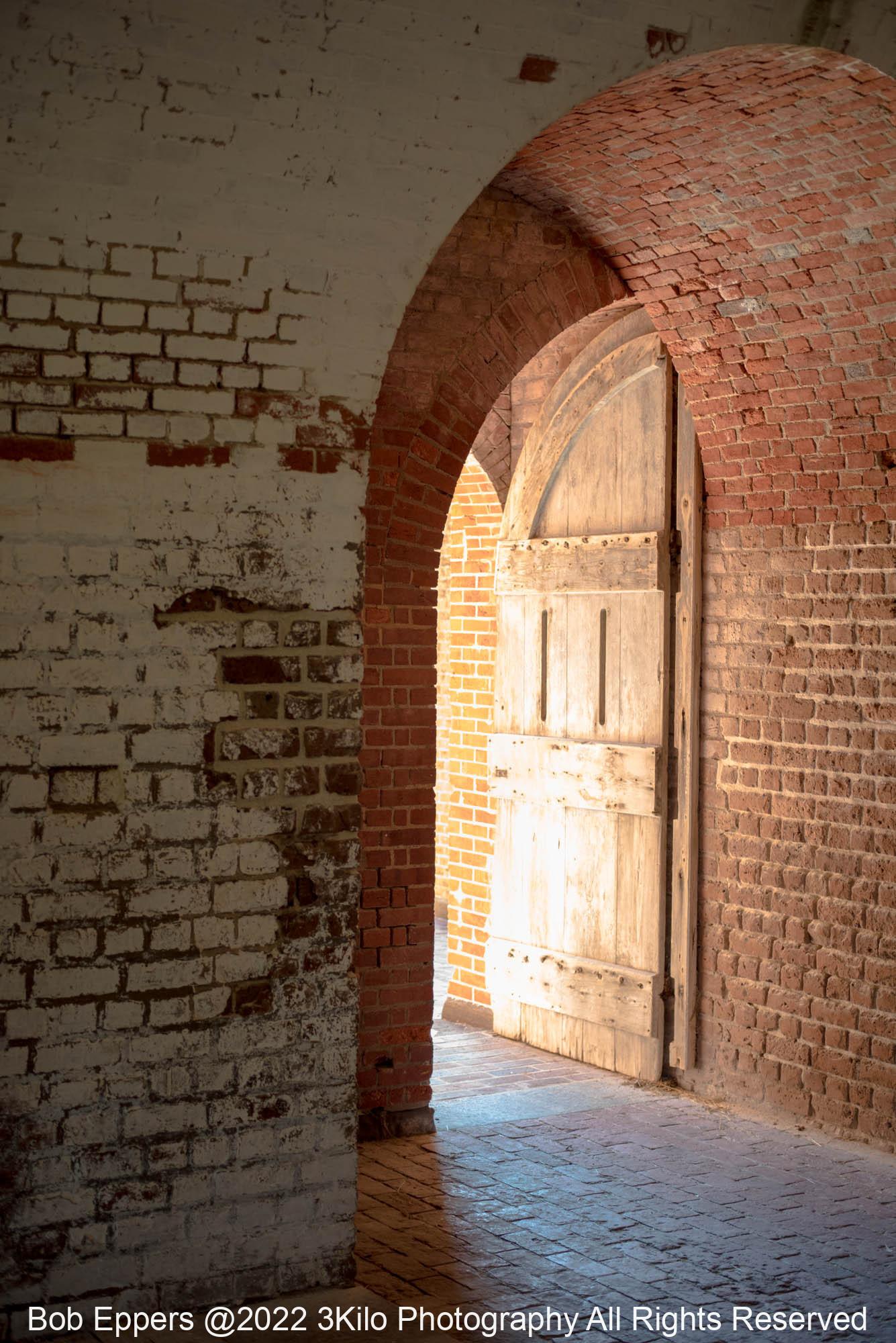 Photo of one of the Doors to Main Gun Gallery at Ft Pulaski.