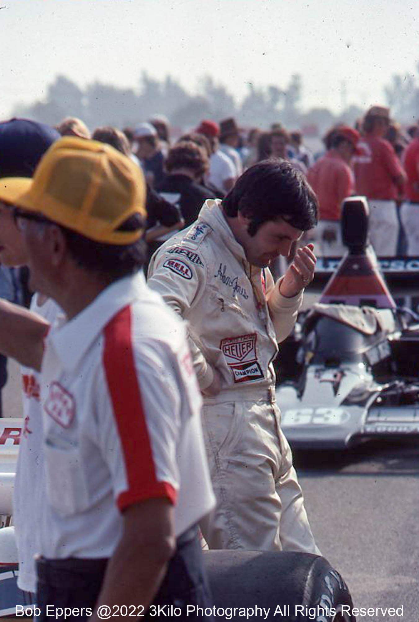 Photo of Alan Jones at Riverside.  1975