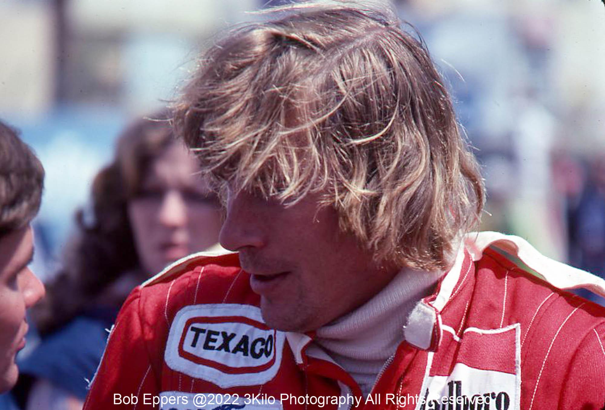 Photo of James Hunt.  1977 F1 LBGP