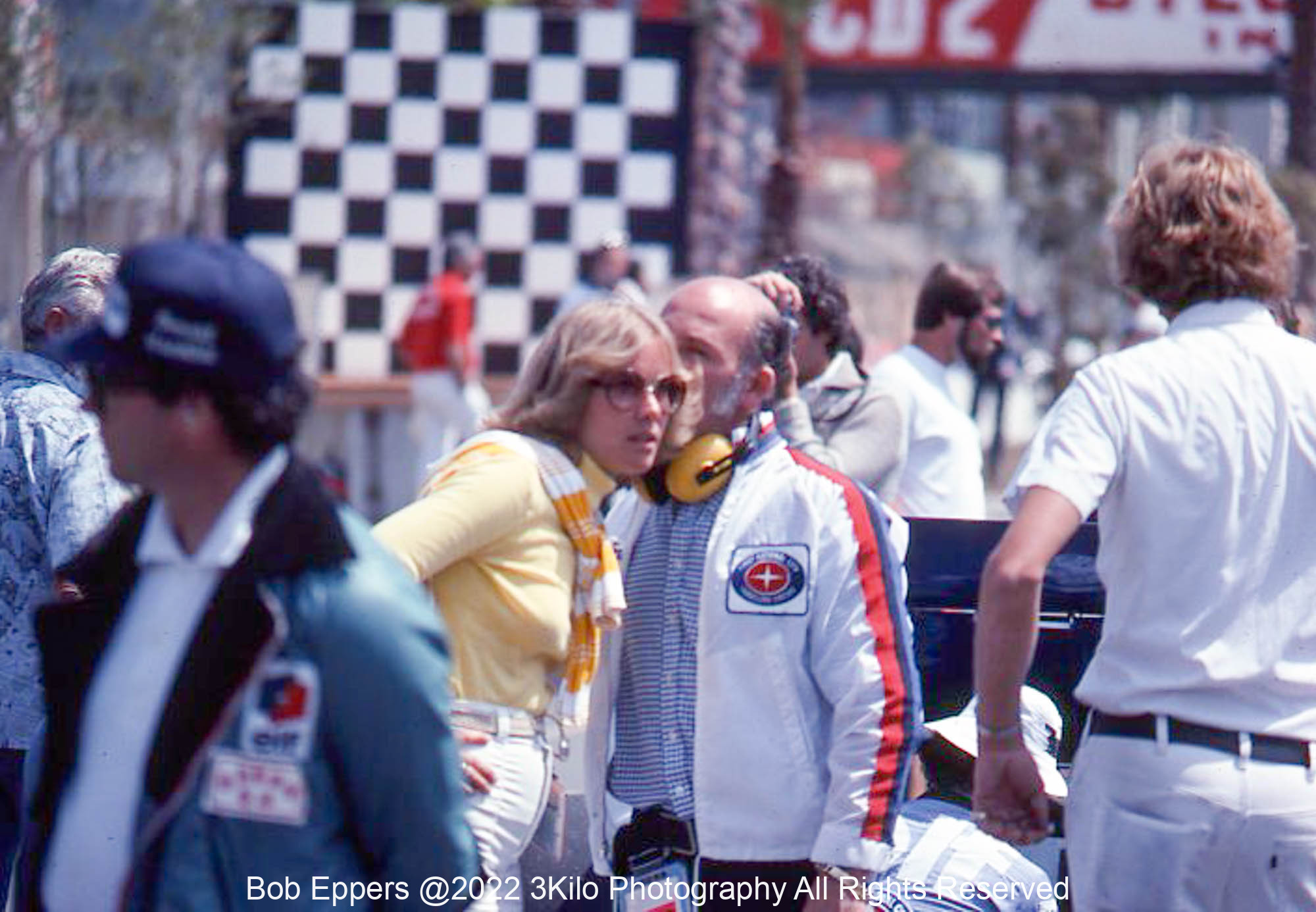 Photo of Stirling Moss in the pits. 1977 F1 LBGP