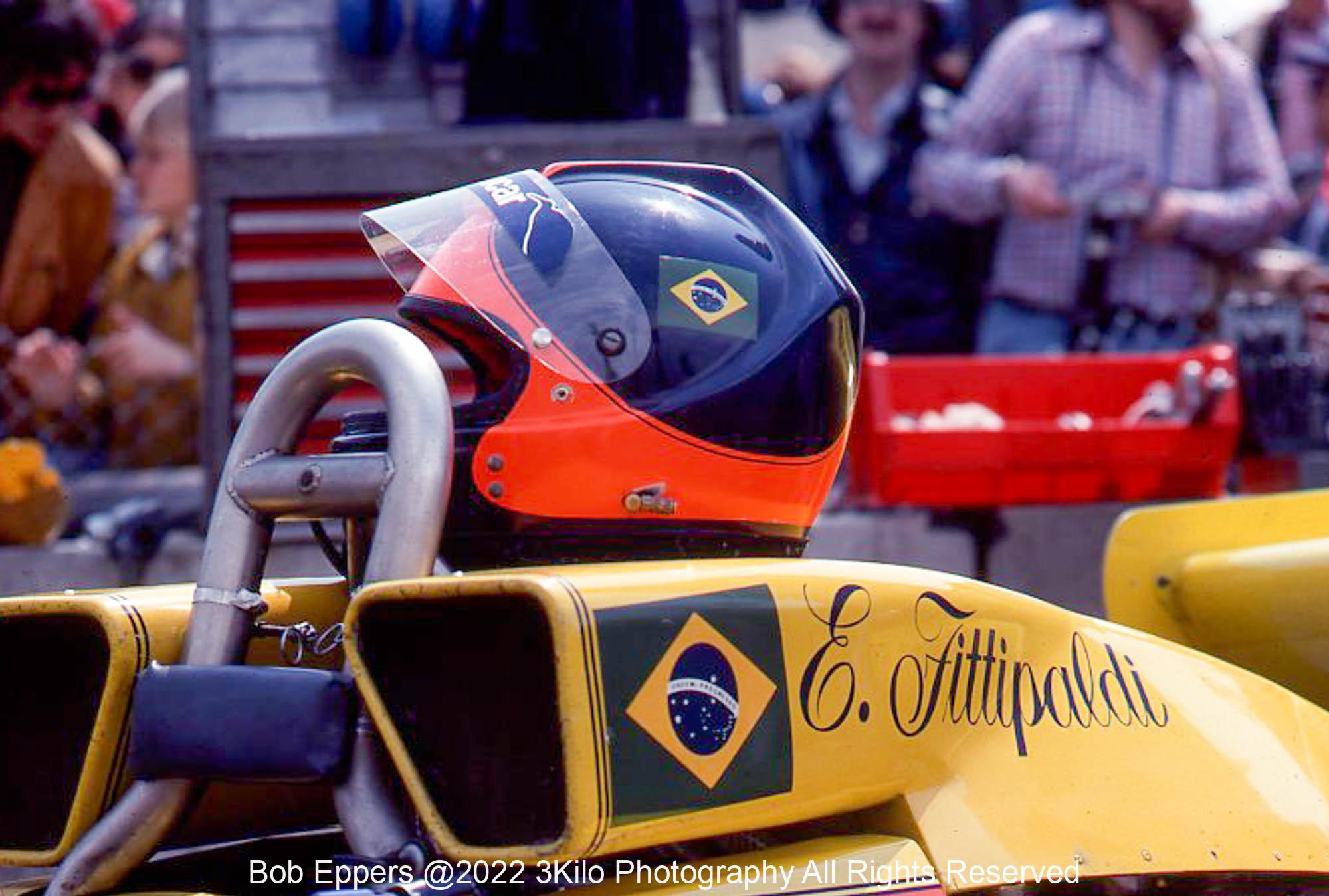 Photo of F1 Copersucar with the Helmet of driver Emerson Fittipaldi. 1977 F1 LBGP