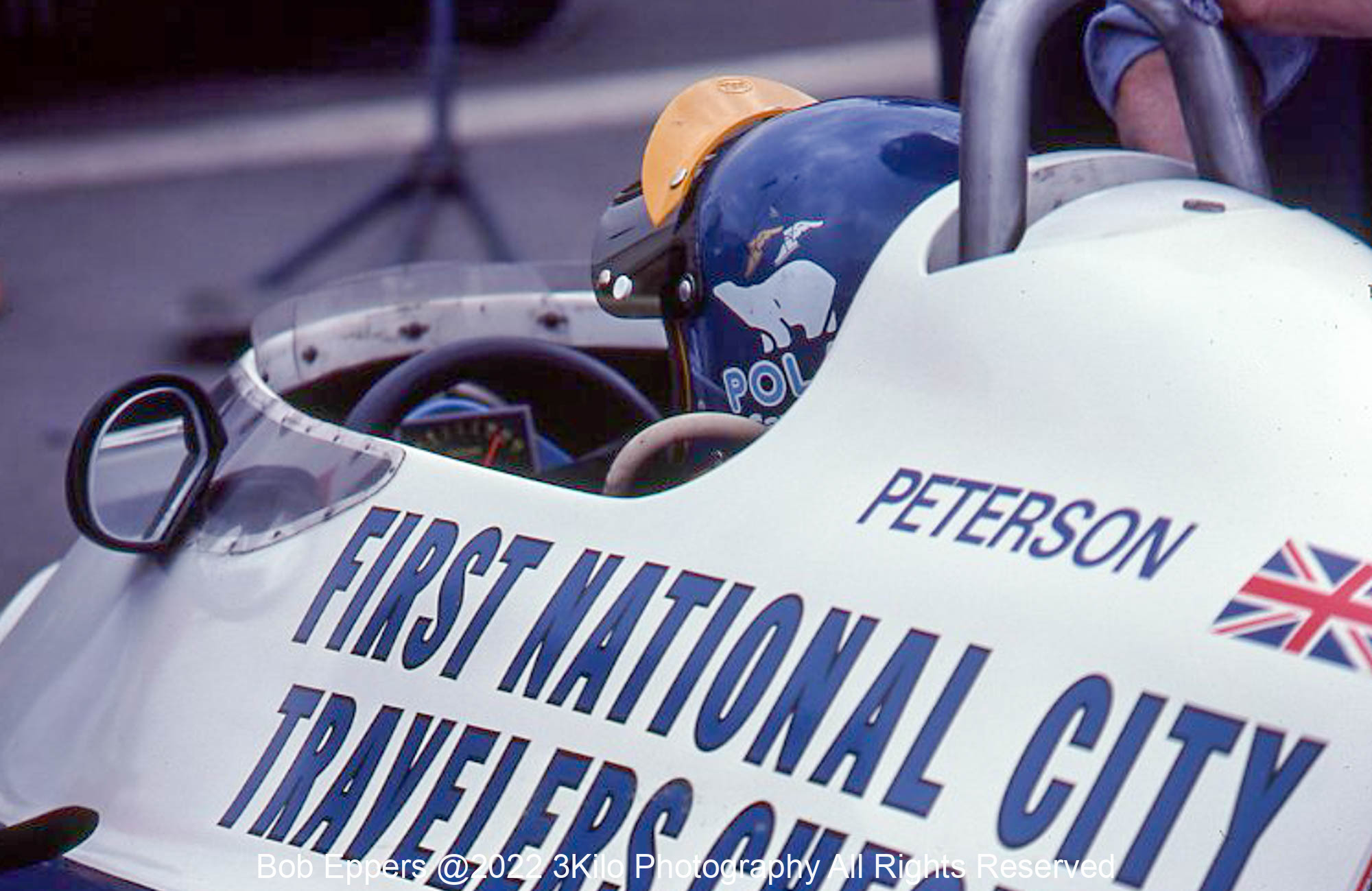Photo of F1 Tyrell with driver Ronnie Peterson.  1977 F1 LBGP