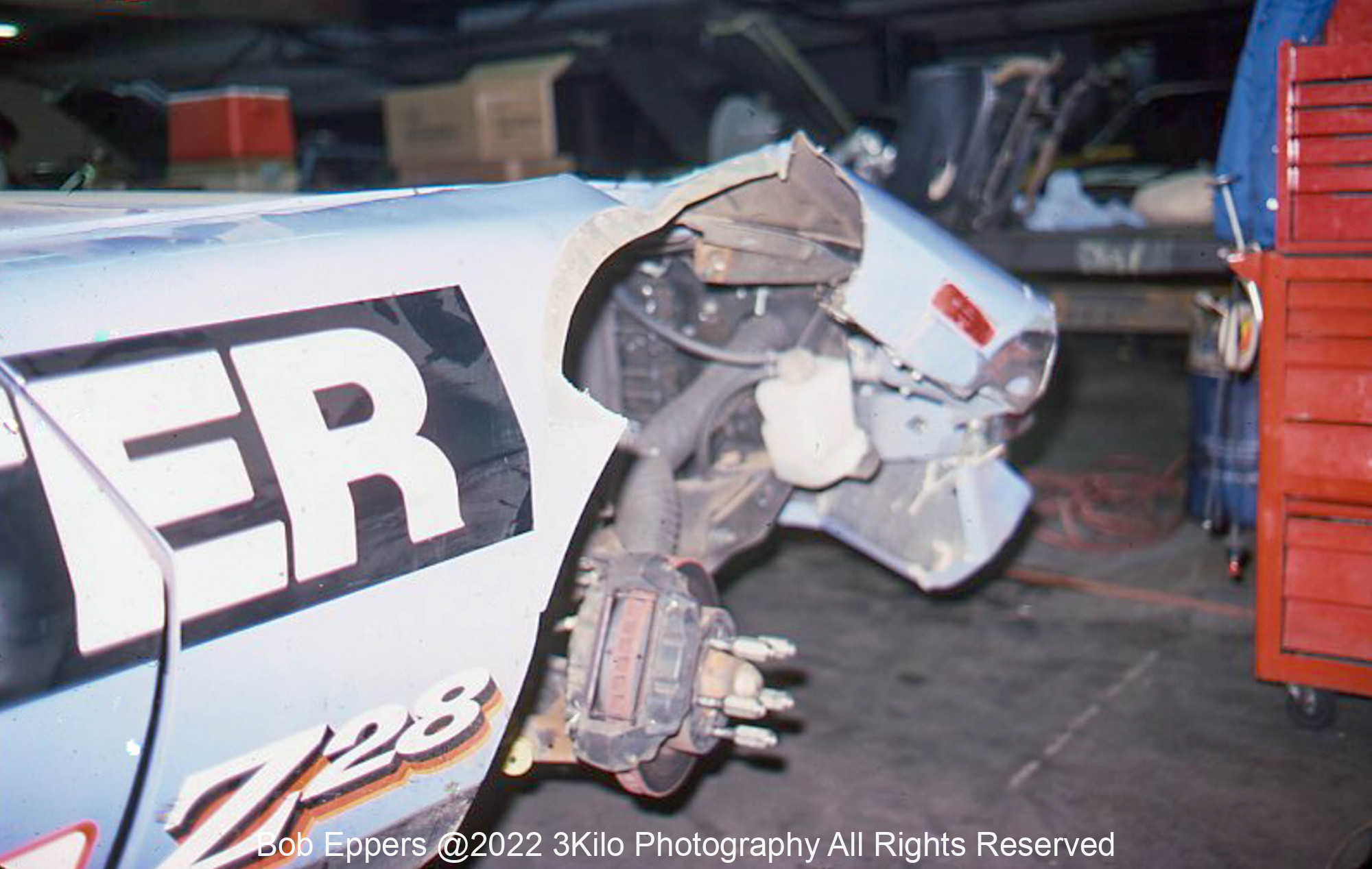 Photo of the IROC race at Riverside, CA.  Jody Scheckter made friends with the wall both days !