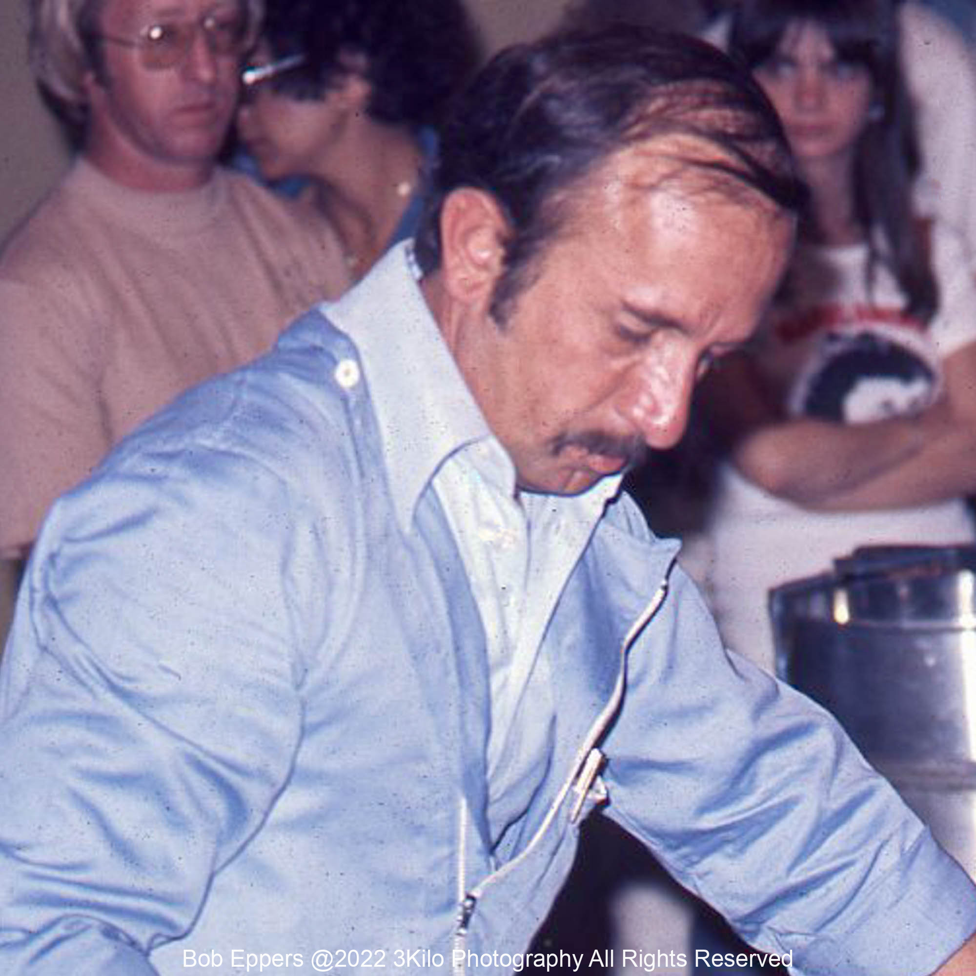 Photo of Ermanno Cuoghi the Ferrari Head Mechanic.  1976 F1 LBGP