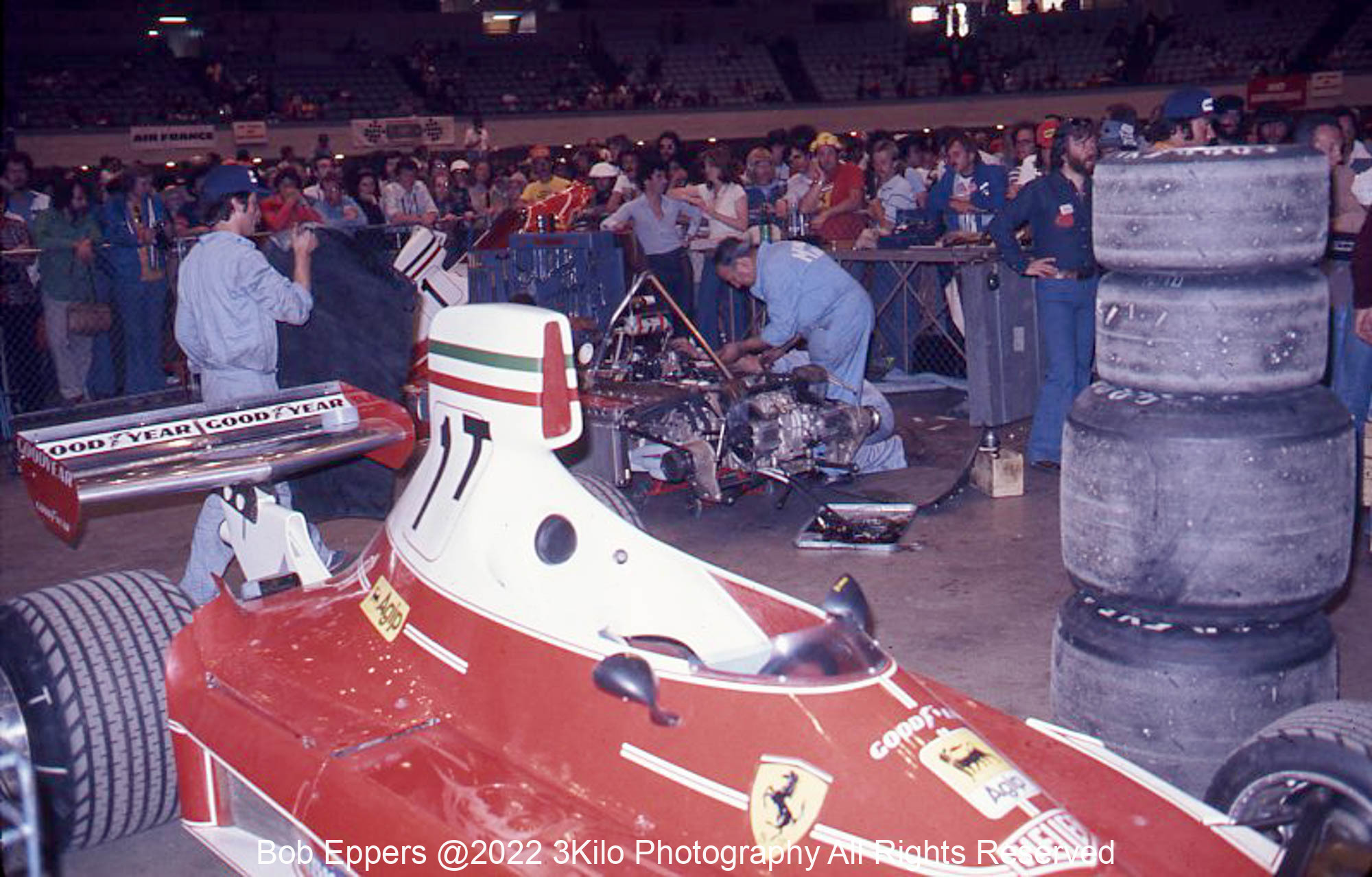 Photo of F1 Ferrari in its pit area in the Long Beach Auditorium.  1976 F1 LBGP