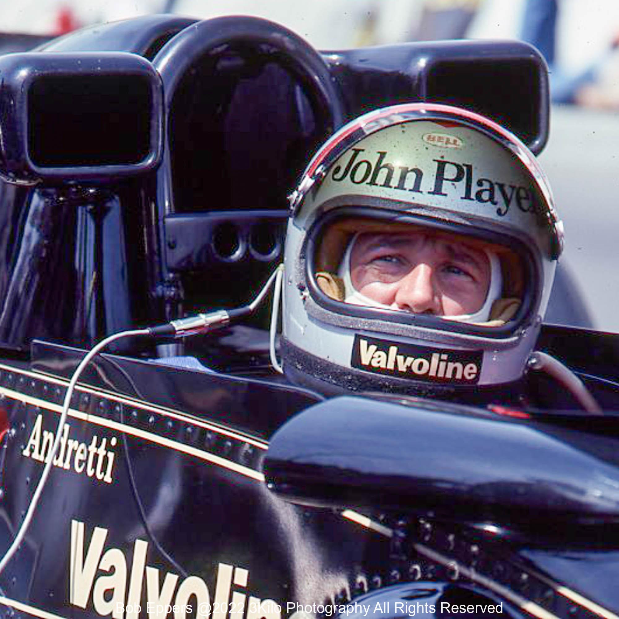 Photo of F1 Lotus with driver Mario Andretti. 1977 F1 LBGP