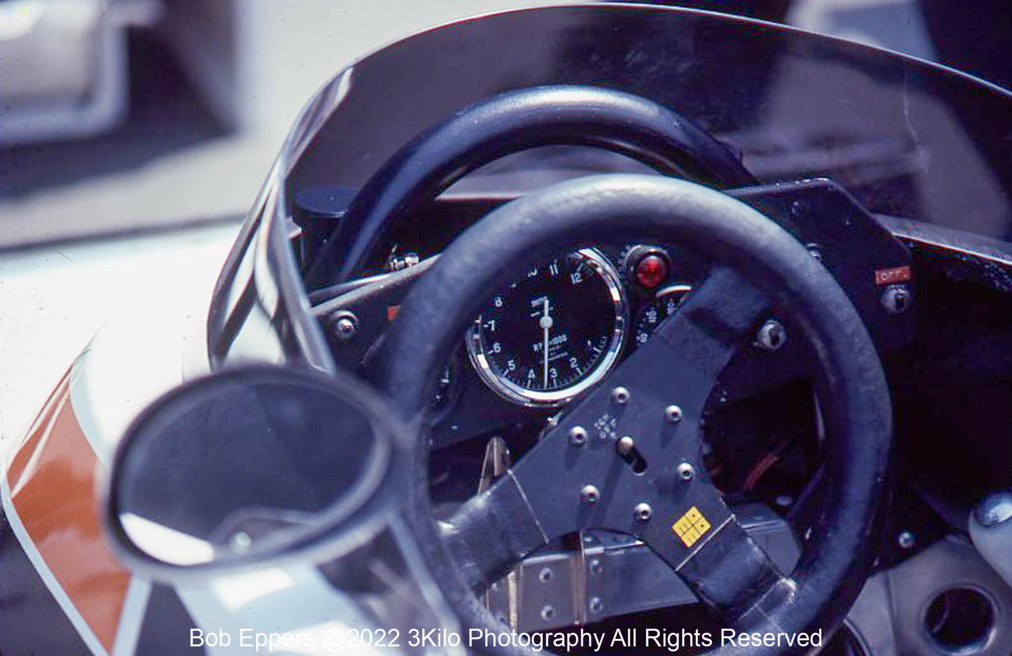 Photo of F1 Surtees cockpit. 1977 F1 LBGP