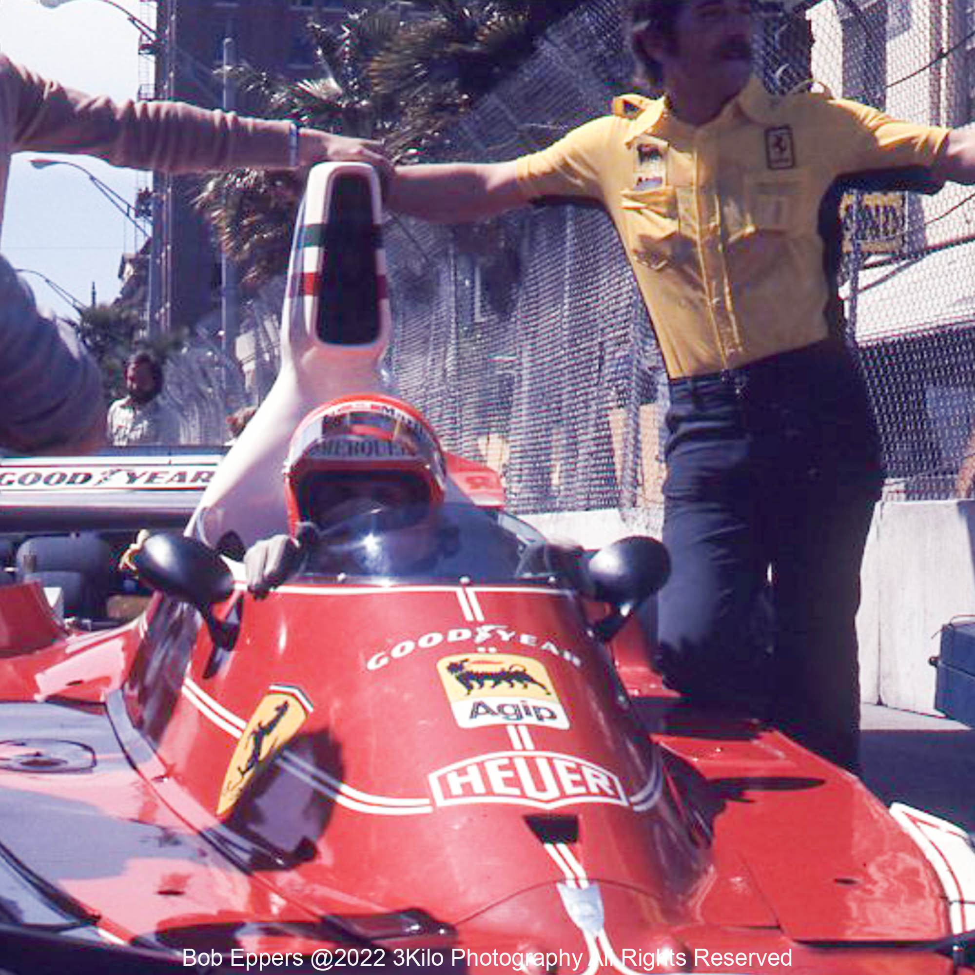 Photo of F1 Ferrari in the pit lane.  1976