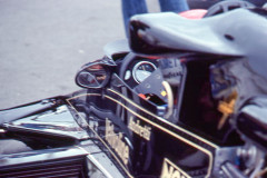 Photo of F1 Lotus with driver Mario Andretti.  1977 F1 LBGP