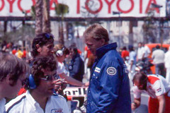 Photo of Dan Gurney in the pits. 1977 F1 LBGP
