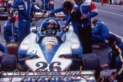 Photo of F1 Ligier in the pits.  1977 F1 LBGP