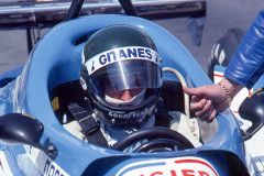 Photo of F1 Ligier with driver Jacques Laffite. 1977 F1 LBGP