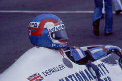 Photo of F1 Tyrell with the Helmet of driver Patrick Depallier. 1977 F1 LBGP