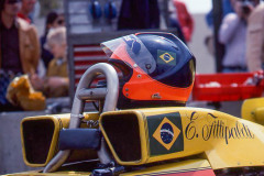 Photo of F1 Copersucar with the Helmet of driver Emerson Fittipaldi. 1977 F1 LBGP