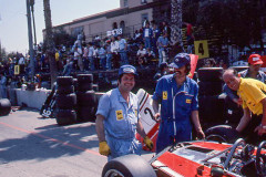 Photo of  Ferrari racing mechanics in pit lane.  1976 F1 LBGP