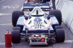 Photo of F1 Tyrell 6 wheel car in the pits.  1977 F1 LBGP
