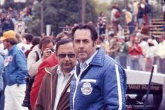 Photo of Jack Brabham in the pits. 1977 F1 LBGP