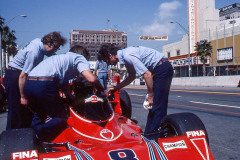 Photo of the F1 Brabham in pit row.  1976