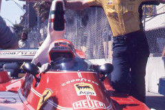 Photo of F1 Ferrari in the pit lane.  1976