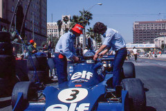 Photo of F1 Tyrell in the pit lane.  1976