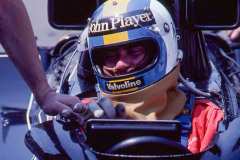 Photo of F1 Lotus with driver Gunnar Nilsson. 1977 F1 LBGP