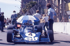 Photo of F1 Tyrell on the stating grid.  1976