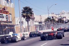 Photo of the cars on the start ing grid.  1976