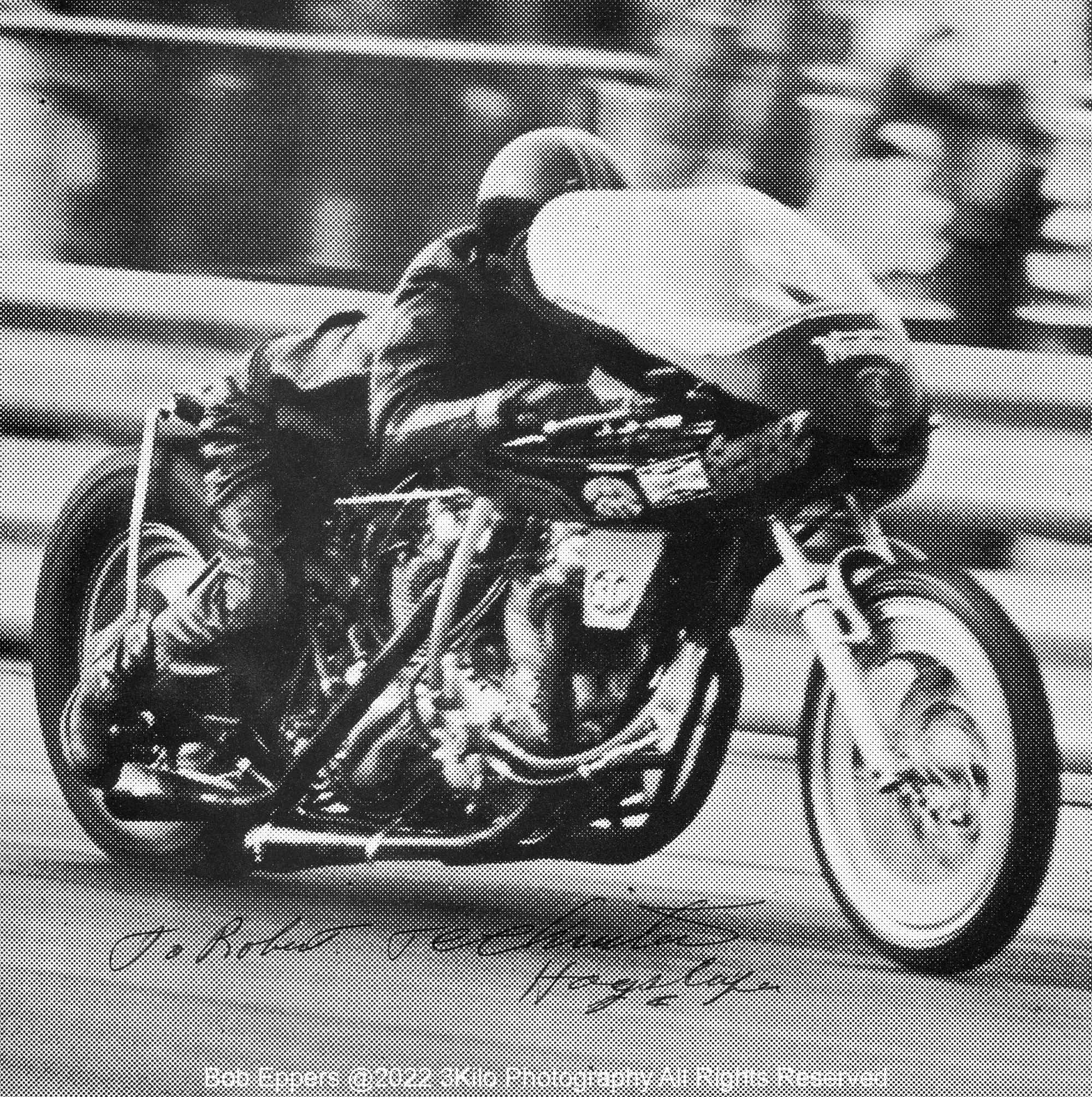 Photo of TC Christenson's twin engined Norton drag bike .